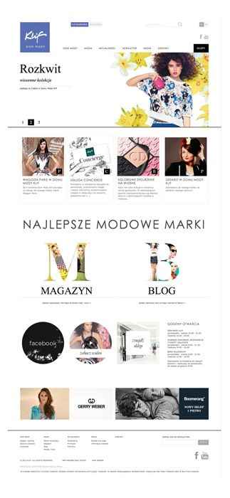 Klif Fashion Mall / Main Page.  Responding to the assumptions, we designed and implemented stylish, dynamic versions of the site for malls in Warszawa and Gdynia, which realise business and image goals of our client.  www.klif.pl/en/ Author: Chilid. Responsive Web Design