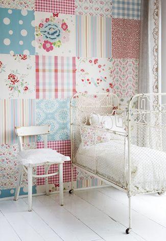 Mooi behang voor een meisjes #kinderkamer   Pretty wall paper for a girl's #kidsroom