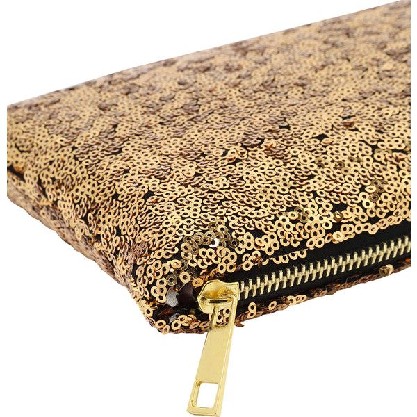 Gold Zipper Sequined Clutch Bag (9.35 BAM) via Polyvore featuring bags, handbags, clutches, beige clutches, zipper purse, sequin handbags, gold sequin purse i sequin purse