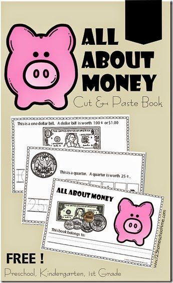 All About Money Cut and Paste Book for Preschool Kindergarten 1st grade