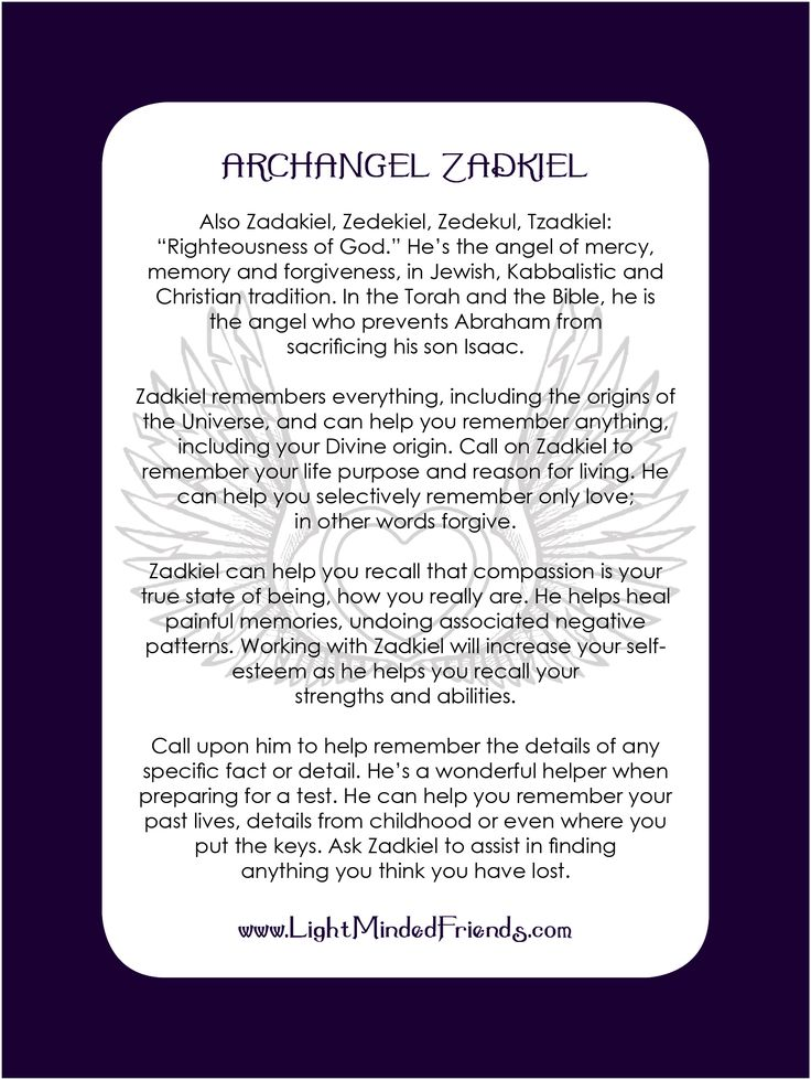 Archangel Zadkiel card.   Printed on 310gsm laminated, linen card stock. You get an Archangel cards included with our Archangel crystal bracelets, or they're available as a set of seventeen cards!