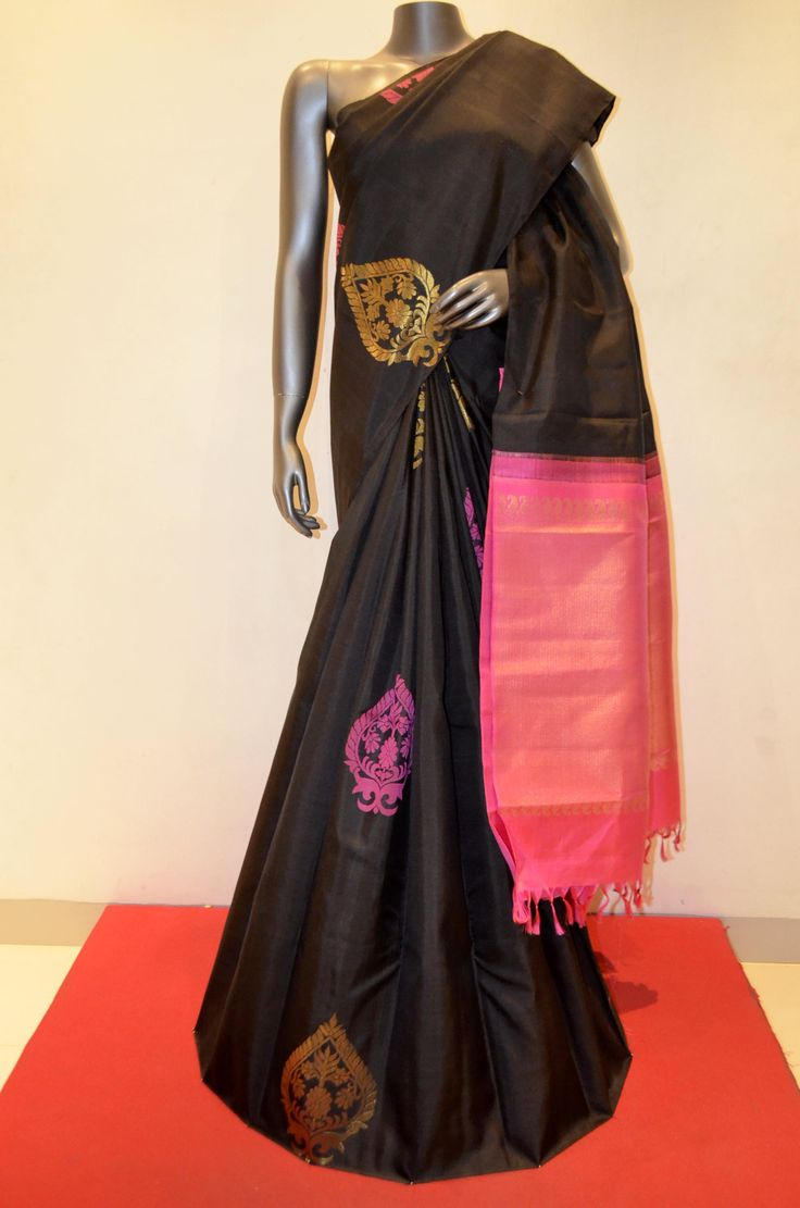 Kanjeevaram Silk Saree | Buy Designer Black Kanjeevaram Silk Saree Online