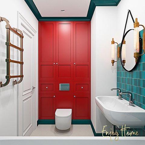 """Детская ванная комната проекта, над которым сейчас во всю идёт работа. Белые стены, плитка с активным принтом (только в """"мокрых"""" зонах), контрастный плинтус, яркий цвет  фасадов и, конечно же, запоминающиеся детали: полотенцесушитель, бра и зеркало"""