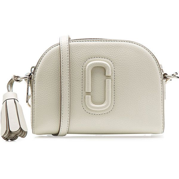 Marc Jacobs Leather Shoulder Bag ($319) ❤ liked on Polyvore featuring bags, handbags, shoulder bags, grey, marc jacobs handbags, gray leather purse, leather shoulder bag, grey shoulder bag and gray purse