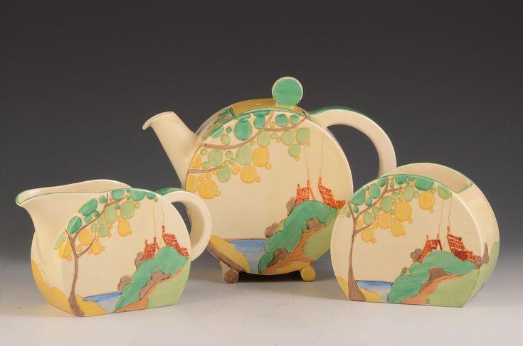 Andrew Muir   Clarice Cliff, Art Deco Pottery, Moorcroft and 20th Century Ceramics Dealerclarice cliff TEA FOR 6 SIZE BONJOUR TRIO C.1934