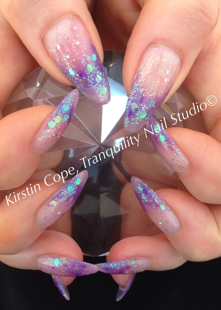 My Nail Harmony Hard Gel extensions with a custom mix of 'Ocean Wave and Starburst' with added glitter.