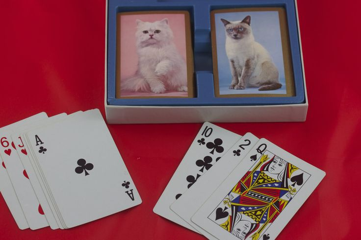 Vintage Bridge Cards, Deck of Cards, Cat Decor, Cat Lover Gift, Card Games, Family Game Night, Card Making, Scrapbooking Supplies, Kittens by SecondActShop on Etsy