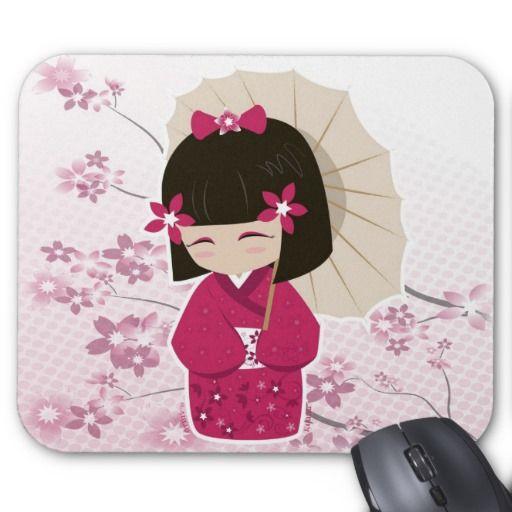 Muñeca de Sakura Kokeshi Tapete De Ratón