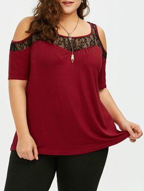 Plus Size Cold Shoulder Lace Trim T-Shirt