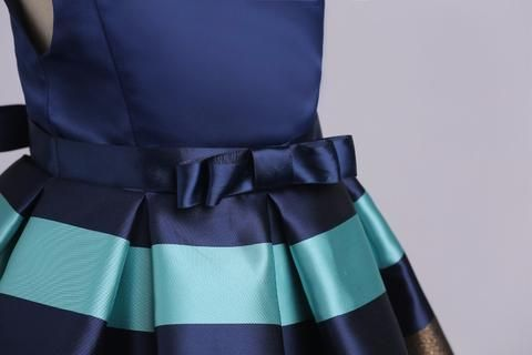 Girly Shop's Royal Blue Cute Sweetheart Neckline Ruffle Cap Sleeve Knee Length Baby Infant Toddler Party Dress With Bow Sash Belt