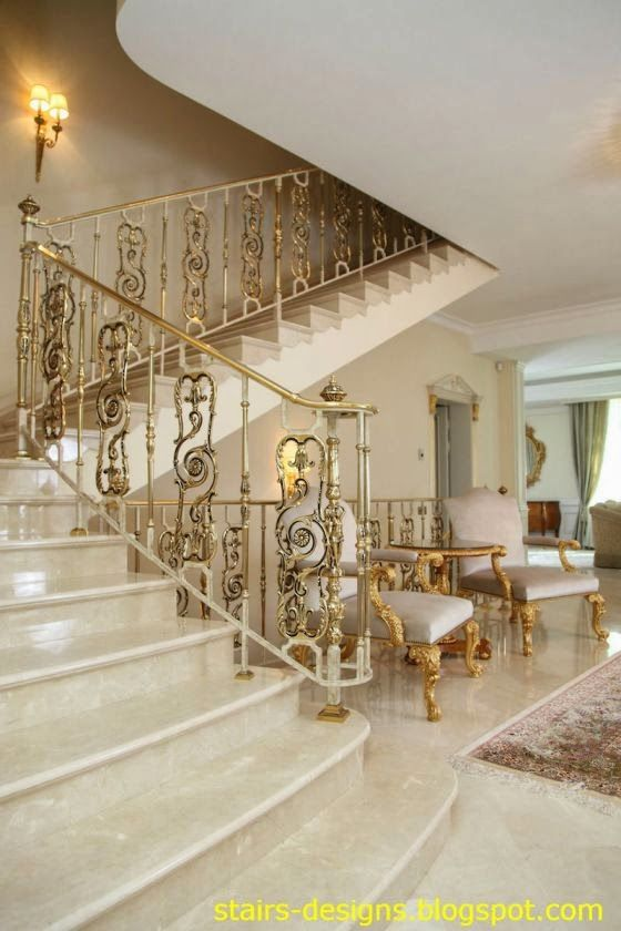 Elaborate Marble Staircase And Foyer With Gold Gilt Stair