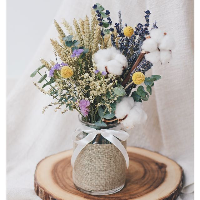 Dried Flowers Jar Bouquet Cotton Lavender Wheat Eucalyptus Gardening On Carousell Dried Flower Bouquet Dried Flower Arrangements Dried Flowers