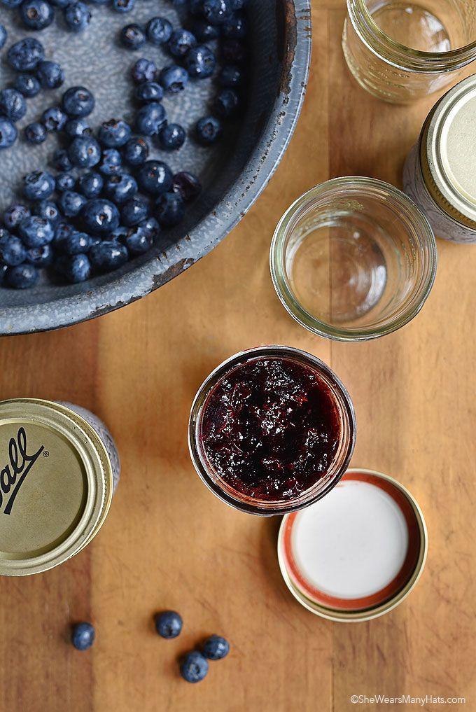 Easy Blueberry Freezer Jam Recipe shewearsmanyhats.com #blueberry