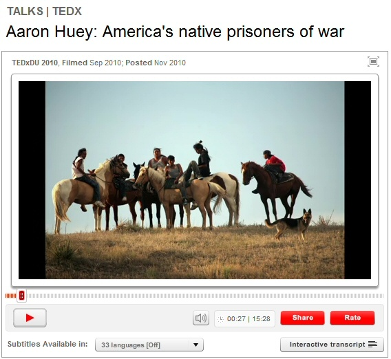 """Aaron Huey (Ted Talk): America's native prisoners of war-- The last chapter in any successful genocide is the one in which the oppressor can remove their hands and say, 'My God, what are these people doing to themselves? They're killing each other. They're killing themselves while we watch them die.' This is how we came to own these United States. This is the legacy of manifest destiny."""" (Aaron Huey)"""