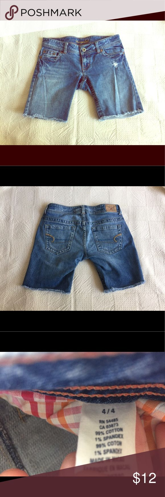 American Eagle Outfitters AEO jean shorts size 4 American Eagle AEO jean short cut-offs. Amazing condition. Pretty much brand new. Boyfriend style. Strategic distressing in front of one pocket. Size 4. 99% cotton. Ready for summer play! Model is for inspiration only--but VERY similar shorts. American Eagle Outfitters Shorts Jean Shorts