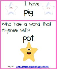 I Have / Who Has rhyming game - free printable