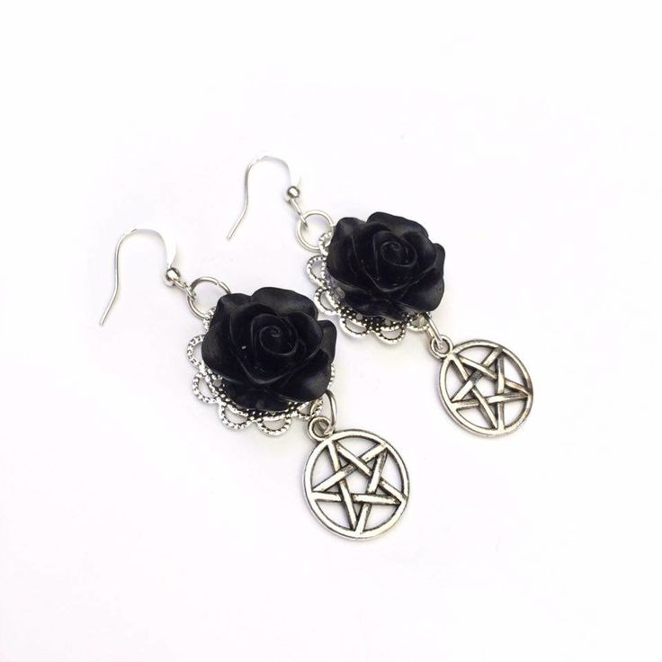 Silver Rose Pentagram Earrings