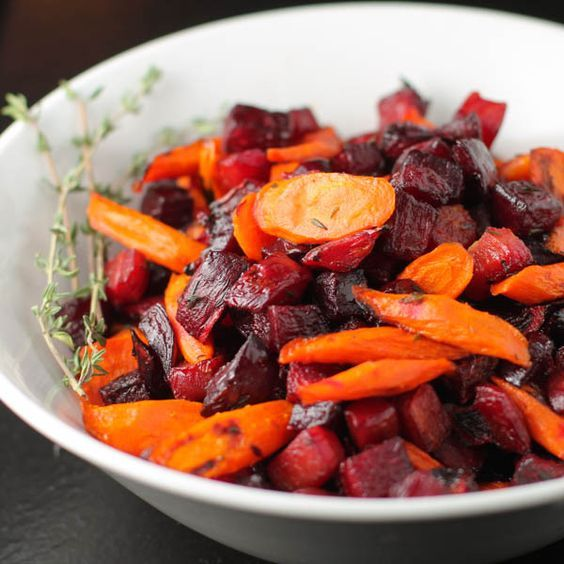 Roasted Carrots and Beets with Thyme -- sweet! More