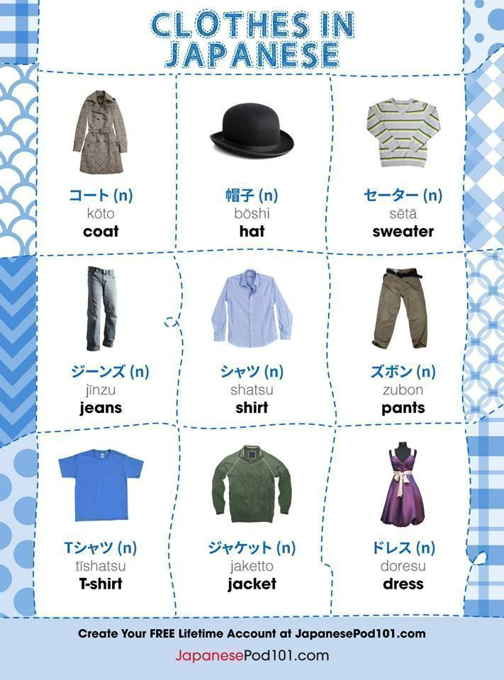 Clothes in Japanese. Grab FREE Japanese vocabulary lists and FREE Japanese lessons online at JapanesePod101 - free podcasts, videos, printables, worksheets, pdfs and more! We recommend Japanese Pod 101 to learn Japanese online. Learn real Japanese words and phrases, the way it's spoken today. Learn Japanese online as a beginner or advanced. Sign up for your free lifetime account and see how much you can learn in a week! #japanese #learnjapanese #nihongo #studyjapanese #languages #affiliate