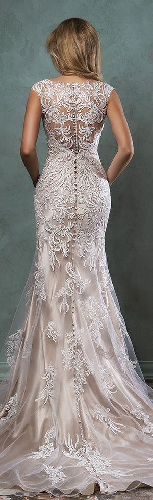 amelia sposa 2016 wedding dresses beautiful cap sleeves v scallop neckline embroidered champagne gold fit flare mermaid dress pia back view #mermaidweddingdress #weddingdresses #wedatw