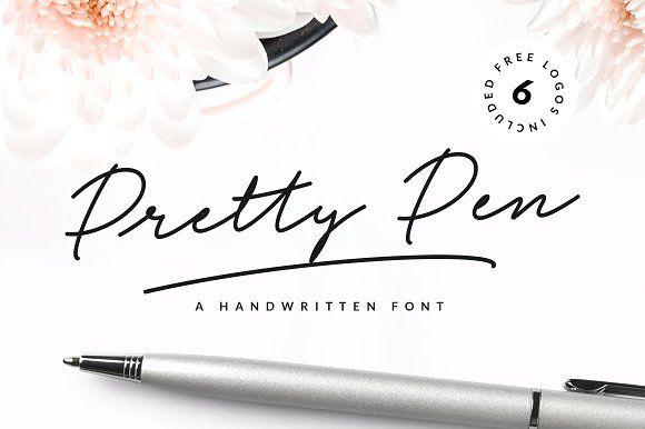 Pretty Pen Handwritten Font - Script #fonts #font #script #brush #handwritten #download #type #graphic #design #print #cursive #calligraphy #vintage #typography #modern #digital #handwriting #handlettered #handlettering #typedesign #typeface #handmadefont #brushtype