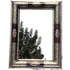 Handmade Moroccan Imported Detailed design metal and burgundy leather frame mirror