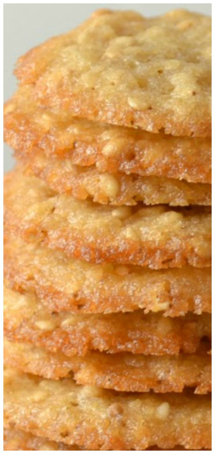 Benne Wafers aka Sesame Seed Cookies Recipe ~ These small and delicious cookies are chewy and such a great snack for Christmas, holidays or with coffee!