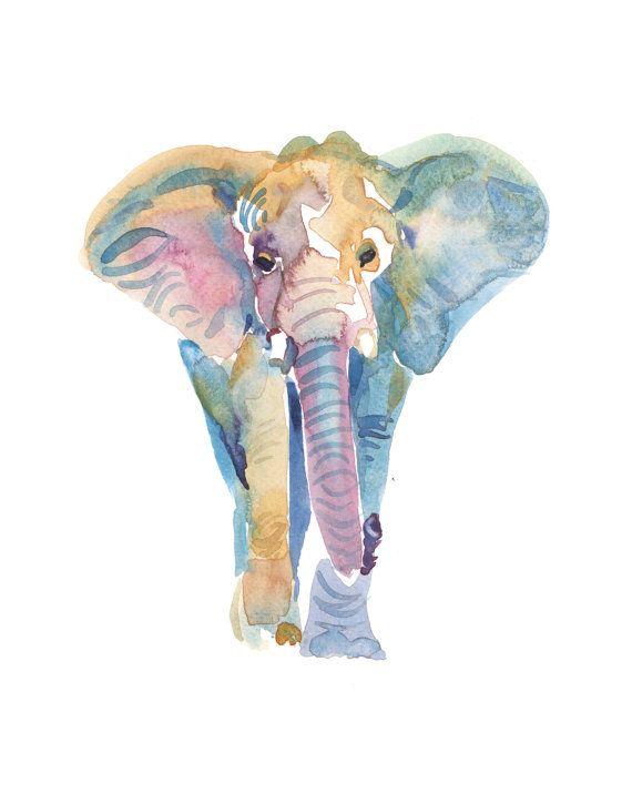 Elefante elefante tamaño 8x10in acuarela por Coconuttowers