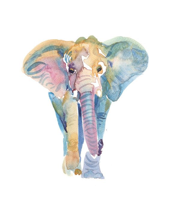 Elephant - Adult Print of an original watercolor painting. Portrait format Size 11x14 inches Other sizes available. Printed on