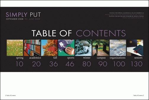 table of contents. great spread. #yearbook #yearbooklayout #layoutidea #viovio