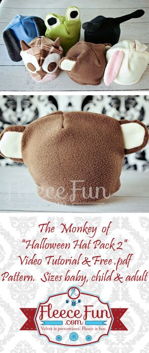 Monkey hat from the Halloween Hat pack 2   easy sewing DIY with FREE pdf pattern