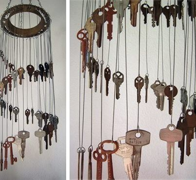 I've been saving keys for years to do a windchime.  I think I would have added beads or something for some added color.