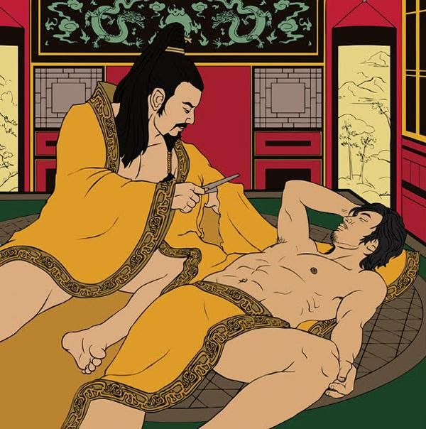Chinese emperor Ai of Han, fell in love with a minor official, a man named Dong Xian, and bestowed upon him great political power and a magnificent palace. Legend has it that one day while the two men were sleeping in the same bed, the emperor was roused from his sleep by pressing business. Dong Xian had fallen asleep across the emperor's robe, but rather than awaken his peaceful lover, the Emperor cut his robe free at the sleeve.