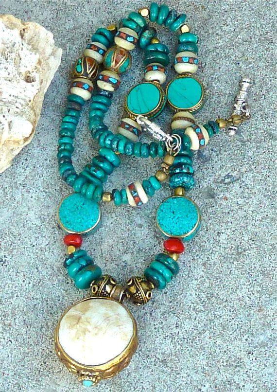 TURQUOISE Necklace - Boho Necklace -  NEPAL PENDANT -  Necklace -  Nepalese Inlaid - Yak Bone Beads - Coral