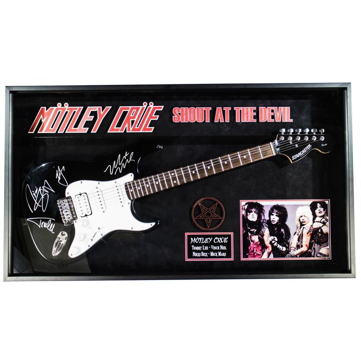 Luxe Motley Crue Signed Guitar Shout at the Devil Custom Framed
