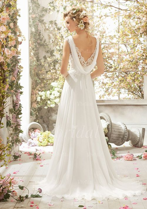 A-Line/Princess V-neck Sweep Train Lace Beading Sequins Chiffon Zipper Up Covered Button Cap Straps Sleeveless Church Garden / Outdoor Reception General No Spring Summer Fall Ivory White Wedding Dress