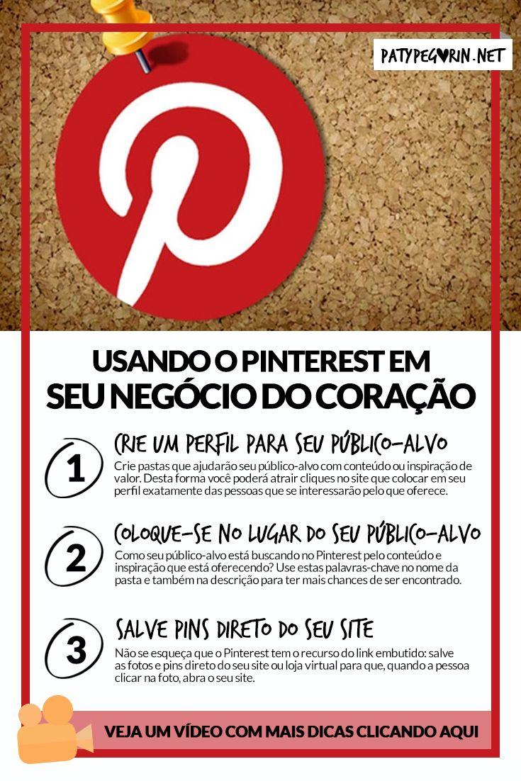 Pinterest - Como usar o Pinterest em seu negócio do coração Veja um vídeo com mais dicas sobre isto em http://patypegorin.net/pinterest ◄==