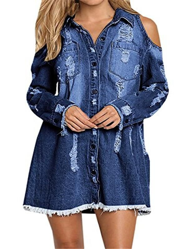 035ddb58 How to wear a denim shirt outfit summer fall DIY plus size oversized with  jeans navy blue color Chellysun Lapel Strapless Hole Casual Denim Shirt#blue  ...