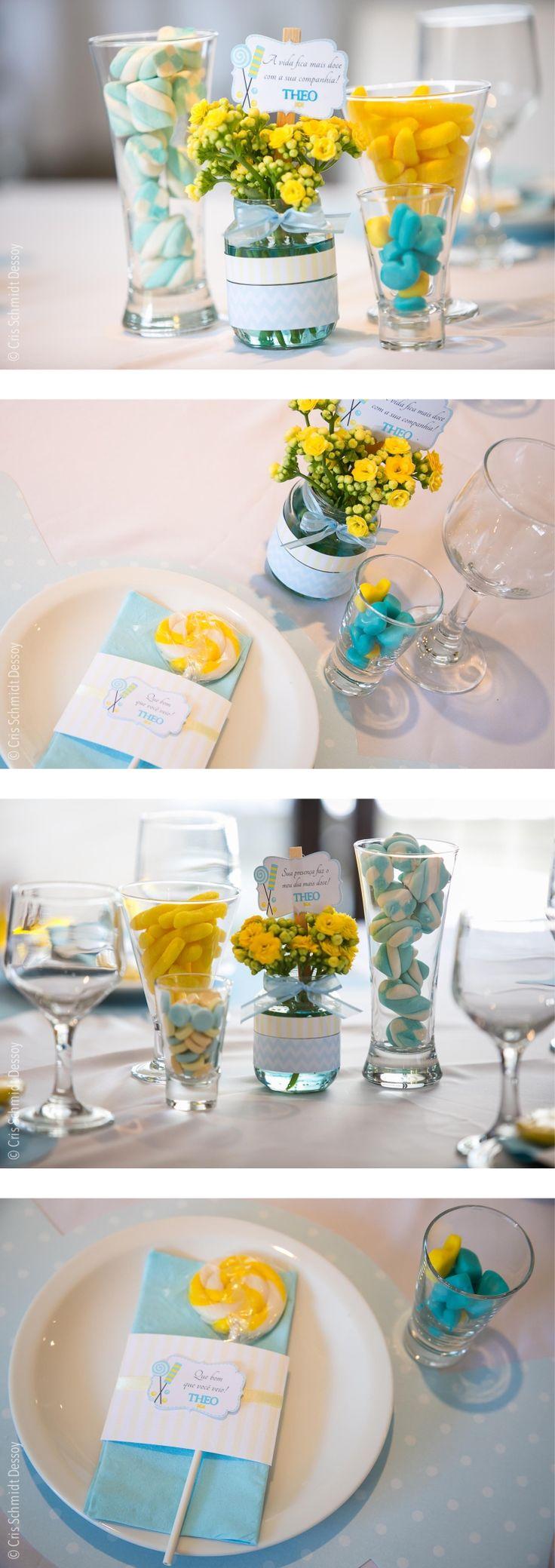 Festa Loja de doces: decoração das mesas Candy shop party: tables deco