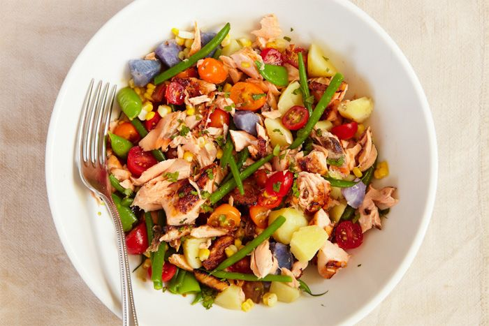 yum: Salmon Salad, Salad Recipes, Kids Food Cooking, Salmon Dinners, Summer Dinners, Green Beans, Dinners A Love Stories, Purple Potatoes, New Books
