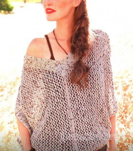 """Пуловер с рукавами """"летучая мышь"""" схема спицами » Люблю Вязать"""