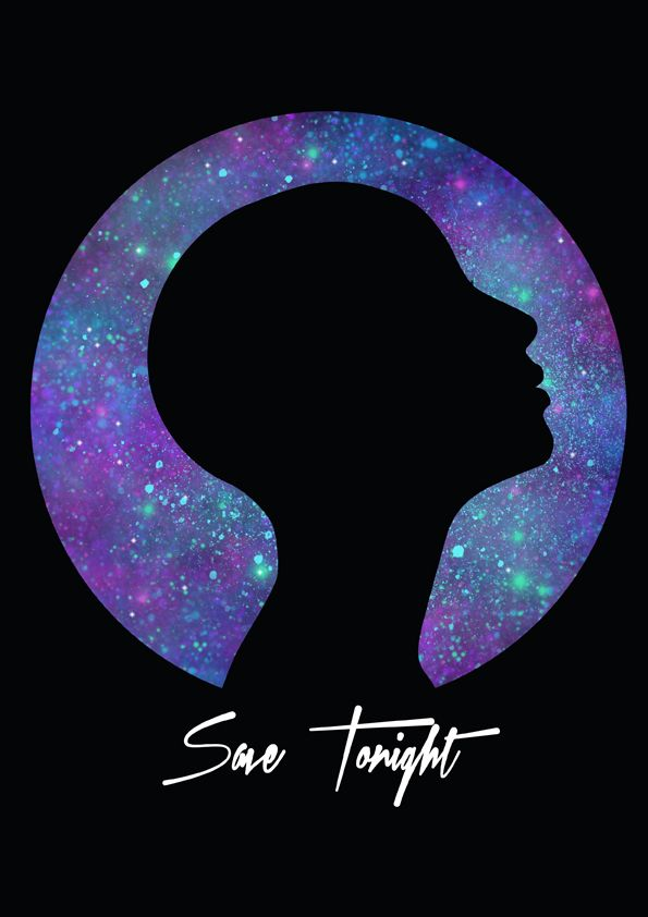 sheila wend #galaxy #galaxie #save #tonight #poster #silhouette #woman #stars #face