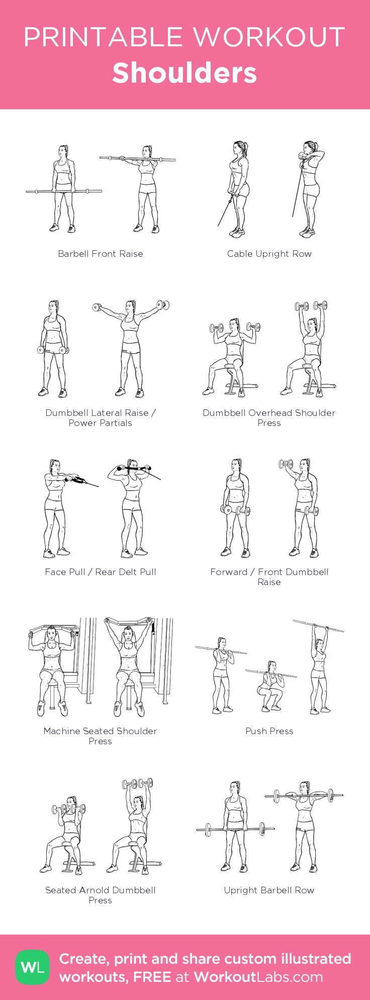Shoulders: my visual workout created at WorkoutLabs.com • Click through to customize and download as a FREE PDF! #customworkout