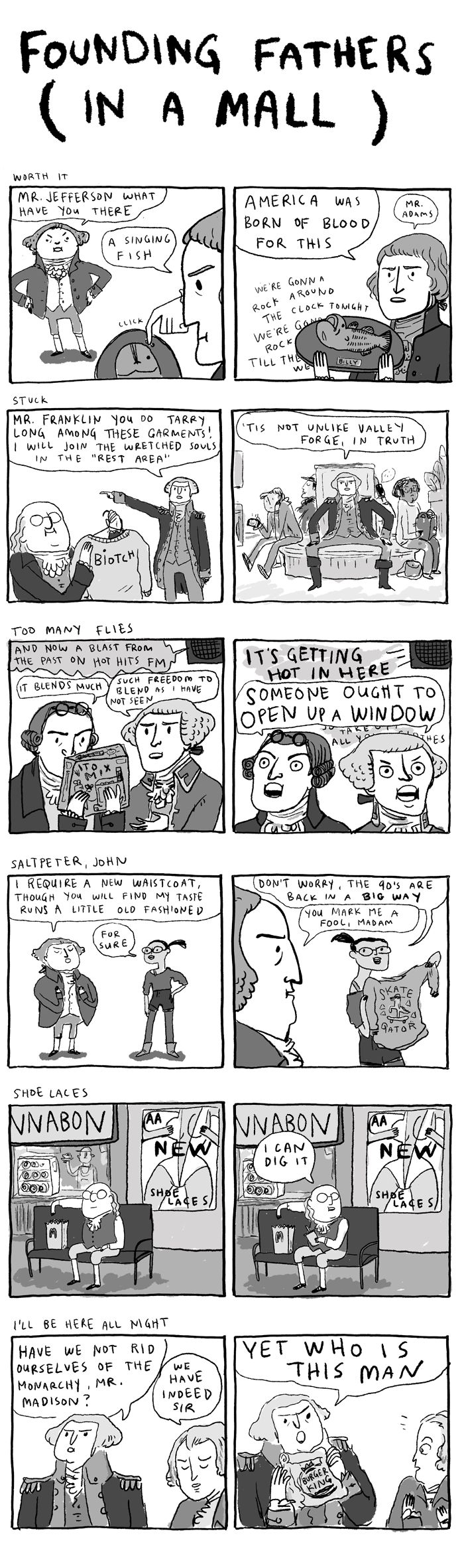 Founding Fathers in a mall by Kate Beaton.
