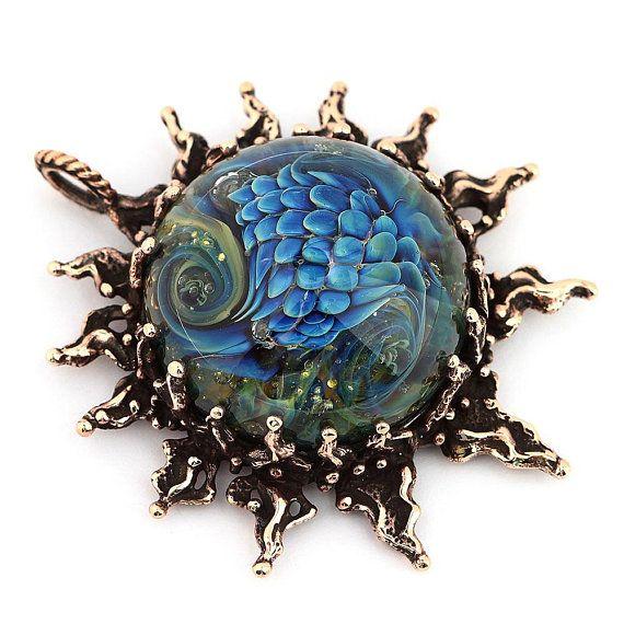Celestial jewelry sun necklace silver pendant with handmade