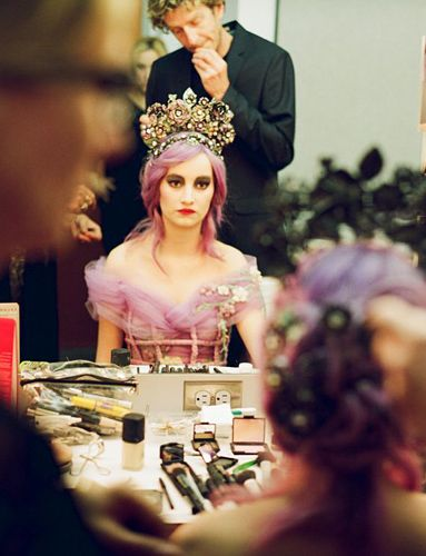 Anna Prohaska in makeup as Donna Zerlina in Don Giovanni