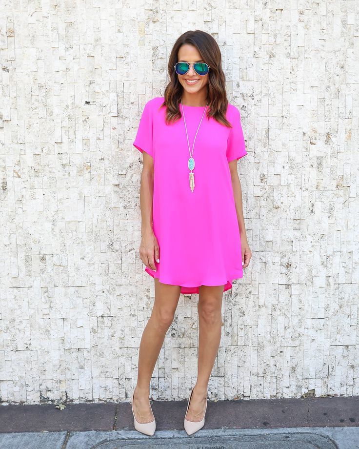 Power Move Shift Dress - Hot Pink