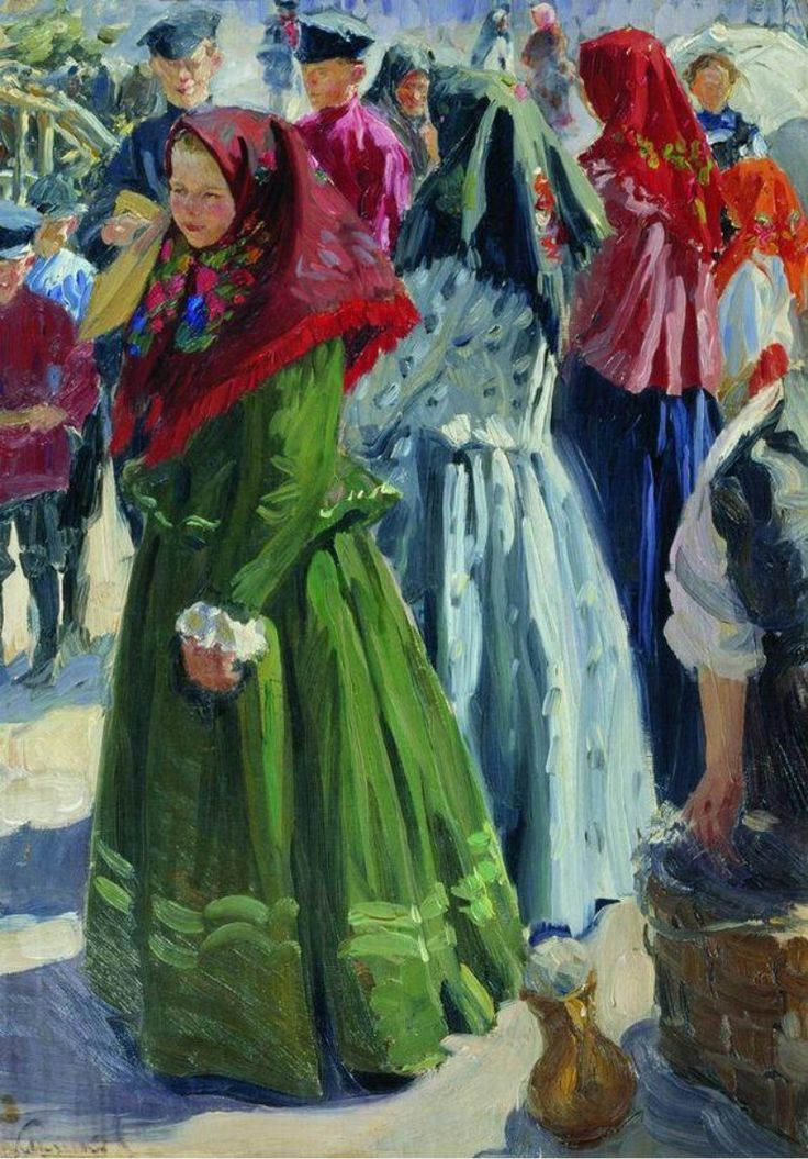 Russian costume in painting. I.S.Kulikov. On a Holiday. 1906. #art #painting #Russia #Russian