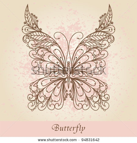 stock vector : Hand-Drawn Ornate Butterfly  Doodle Vector Illustration