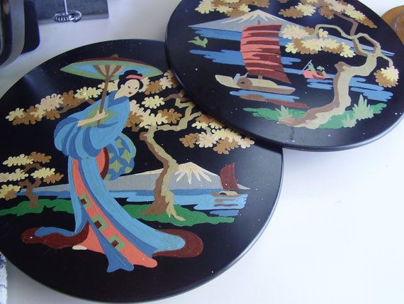 Vintage 1950s Tin Wall Pocket Paint By Number Style Asian theme Set of Two